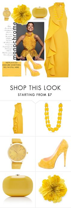 """yellow monochrome"" by nineseventyseven ❤ liked on Polyvore featuring Solace, Kim Rogers, Christian Louboutin, Jeffrey Levinson, Gucci, yellow, monocrome and marigold"
