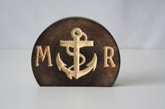 Nautical Anchor Wedding Cake Topper, rustic and natural burned wood with personalized letters on Etsy, $15.00
