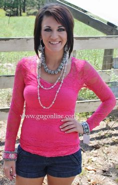 Lace Blouse Hot Pink $13.95-$20.95 www.gugonline.com