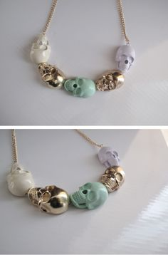 pastel skulls necklace