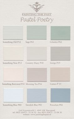 Farbkarten für Wandfarben und Möbelfarben von Painting the Past mit über 100 attraktiven Farbtönen