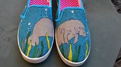 Manatee Hand Painted Canvas Shoes  Order your custom by fcwhimsey