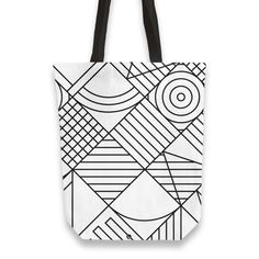 'Whackadoodle BW' Tote Bags by fimbis on miPic  ____________________________ geometric, black and white, monochrome, fashion, fashionista, style, inspiration, minimal, art, shopping, inspiration, school, back to school, Non Woven Bags, Thing 1, Monochrome Fashion, Op Art, Luggage Bags, Canvas Tote Bags, Hand Sewing, Back To School, Minimal