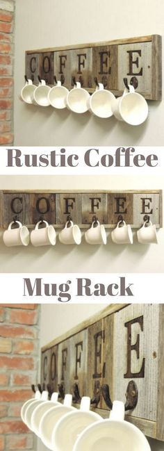 All Barn Wood Original 6 Hook Barnwood Coffee Mug Rack..because sometimes you need a little rusticity in your life and a whole lot of caffeine! #coffee #coffeerack #ad #kitchen #rustic #farmhouse #caffine #homedecor