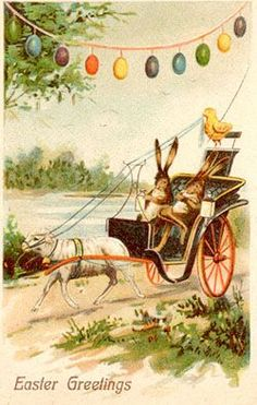 Easter Postcards with Rabbits