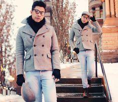 Zara Newsboy Hat, Pull & Bear Jersey Scarf, H Peacoat, H Knitted Gloves, Zara Skinny Jeans