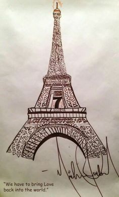 Michael's drawing of the Eiffel tower.