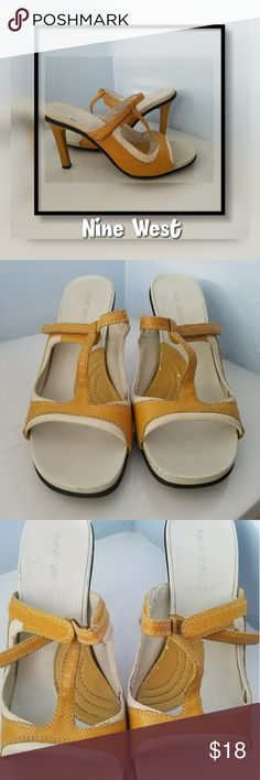 """NINE WEST Mustard Leather Slip On Open Toe Heels Vintage classic style heels are gorgeous  but show light wear.  ✔scuffing on areas. Creme heel on the right area has a small piece of the material coming off. See pics   Slip on and adjust with Velcro strap.   Size 8M Heel 4"""" kitten heel  Stop by my closet for more great fashion deals and bundle for less Nine West Shoes Heels"""