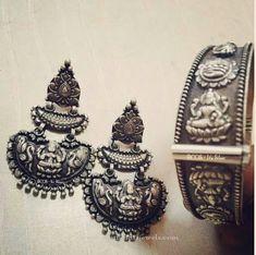 Silver Lakshmi Earring, Silver Antique Earrings, Silver Chandbali Earrings…