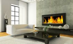 Contemporary living room-- Features: Large windows, coffee table, fireplace, sofa Accents: White, black, cement