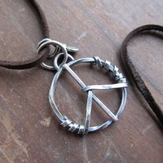 Sterling silver PEACE SIGN Necklace Unisex SMALL Pendant by artdi