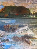 """""""So without sediment runs the clear burns of my country"""" poem by Nan Shepherd - collage on canvas 50cms x 60cms"""