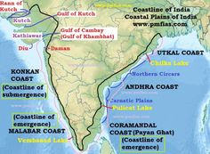 Coastline of India – Coastal Plains of India Ap Human Geography, Geography Map, Geography Lessons, Physical Geography, Upsc Notes, Study Notes, General Knowledge Book, Gernal Knowledge, Ias Study Material