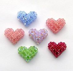 """3-D Crystal """"Puffy"""" Hearts and a Strawberry Pattern 
