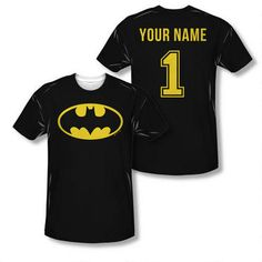 Exclusive! Add a name to the back, and this Batman Jersey is uniquely yours or yours to give to your favorite super hero!!