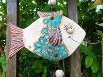 Windspiel Fische Mobile Gartenkeramik Keramik