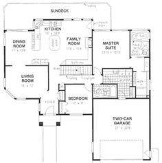 First Floor Plan of Ranch   House Plan 58698