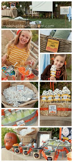 It's The Great Pumpkin Outdoor Movie night and popcorn bar with FREE printable set!