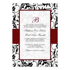 Damask Wedding Invitations in Red Black and White