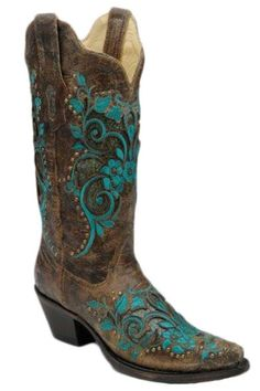 Corral Boots Women's Turquoise Floral Inlay Cowgirl Boots |Corral Boots
