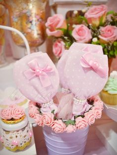 Pink shabby chic birthday party! See more party planning ideas at CatchMyParty.com!