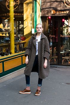 Hanne Gaby Odiele after Akris. Loving the Prada creepers.