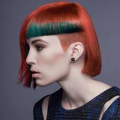 """haircutgalaxy: """" Hair by Tara """" Edgy Haircuts, Stylish Haircuts, Girl Haircuts, Creative Hairstyles, Cool Hairstyles, Short Hair Cuts, Short Hair Styles, Red Orange Hair, Competition Hair"""