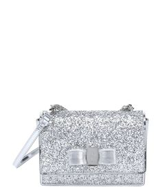 Salvatore Ferragamo silver glittered patent leather mini  Ginny   convertible shoulder bag  aafc05686169d