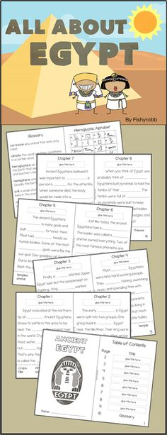 Informational text activity book about Ancient Egypt - main idea, text features, vocabulary, and context clues. Includes QR code cards for supplemental videos. Grade 3-4