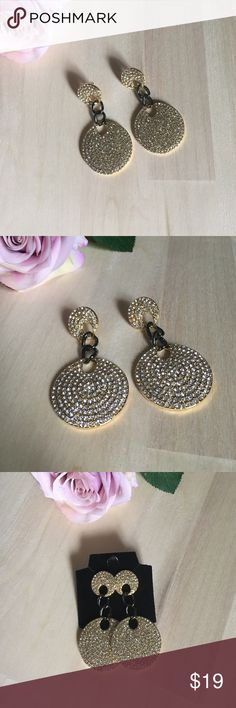 Stunning earrings. Stunning earrings. Gold-tone and sparkling crystals. NWOT. Chico's Jewelry Earrings