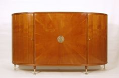 Sideboard, Italy, c. 1940. Alder, ebony, mahogany, silvered brass, glass
