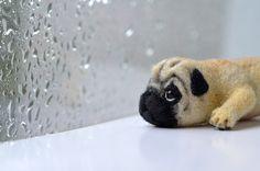 Needle felted pug toy. Little felt dog. Tiny animal by Fenekdolls on Etsy https://www.etsy.com/listing/206721532/needle-felted-pug-toy-little-felt-dog