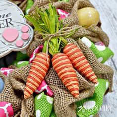 Our bunnies cant wait to share their bright color and easter easter bunny burlap wreath an easy craft idea and tutorial negle Images