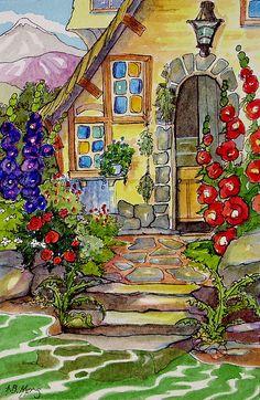 A Gardener's Cottage Retro Storybook Painting Series - Modern Simple Illustration, Garden Illustration, Watercolor Illustration, Brain Illustration, Storybook Gardens, Storybook Cottage, Cute Cottage, Cottage Art, Watercolor Landscape
