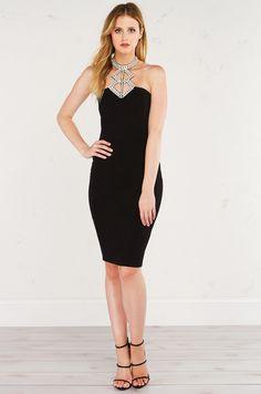 AKIRA Bodycon Halter Dress with Bejeweled Neckline in Black