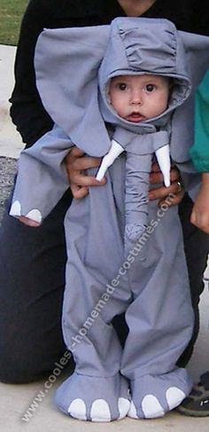 """Elephant Costume: """"...McCall's pattern #MP357...I started making this costume early September and it took me 5 weeks! I have two small children, so I don't have long sewing sessions. This costume is a pretty difficult pattern with lots of hand-stitching, especially all the hood pieces; ears, trunk, tusks, etc."""""""