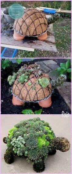 Diy succulent turtle tutorial video how to make bottle cap flowers for frugal diy garden art Diy Garden Projects, Garden Crafts, Garden Art, Wood Projects, Garden Ideas Diy, Craft Projects, Project Ideas, Diy Crafts, Creative Garden Ideas