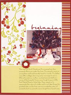 Vintage Christmas Page - http://www.bhg.com/crafts/scrapbooking/layouts/holidays-seasons/quick-and-easy-christmas-scrapbook-pages/#page=18