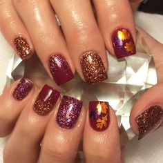 Polished Metal Orange  | Fall Leaves Nail Decal | Fall Nails | Fall Nail Design | Fall Nail Art | Fall Leaf Nails | Nails | Nail Art | Nail Decals