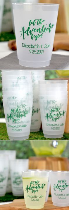 Wedding Cups - Add personality to your wedding drink station with personalized favor cups. 16 ounce size favor cups are most commonly used for serving beer and soft drinks. Stack cups at your self-serve drink station so guests can help themselves. Stock your bar with souvenir cups for serving beer and large mixed drinks. Encourage guests to take their cups home as wedding souvenirs. #favors #weddingcups #wedding