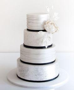 simple elegant white and black wedding cake ideas