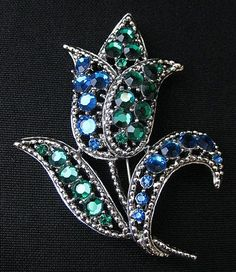 Vintage Signed Weiss Tulip Flower Brooch or Pin