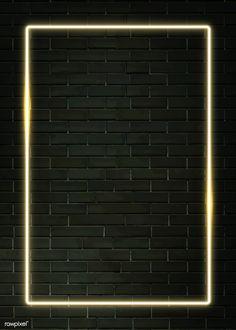 Rectangle yellow neon frame on a black brick wall Brick Wall Wallpaper, Framed Wallpaper, Neon Wallpaper, Lock Screen Wallpaper, Wallpaper Backgrounds, Phone Wallpapers, Instagram Background, Instagram Frame, Neon Lighting
