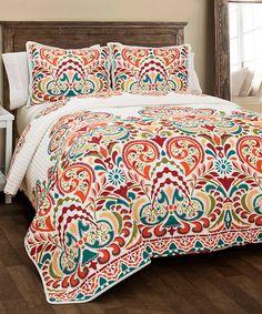 Tangerine & Turquoise Floral Clara Quilt Set ==