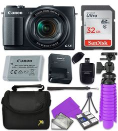 """Canon PowerShot G1 X Mark II Wi-Fi Digital Camera with Sandisk 32 GB SD Memory Card + Extra Battery + Tripod + Case + Card Reader + Cleaning Kit. This Paging Zone Camera Bundle comes complete with Manufacturer Supplied Accessories and 1-year Manufacturer Warranty and Includes:. Canon PowerShot G1 X Mark II Digital Camera with 12.8MP High-Sensitivity 1.5"""" CMOS Sensor, DIGIC 6 Image Processor, Canon 5x Optical Zoom Lens, 24-120mm f/2-3.9 (35mm Equivalent), Full HD 1080p Video Recording at…"""