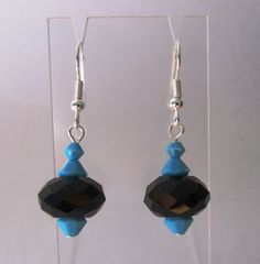 Black And Turquoise Earrings Purple and Black by MoYuenCreations, $10.00