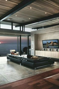 Interior Modern living room Light and views Views Inspiration Architecture Homes Modern Clean Lines Future House Wood FLoors Cement Windows Homes I love Modern House Design, Modern Interior Design, Interior Architecture, Modern Interiors, Space Interiors, Sweet Home, Decoration Inspiration, Decor Ideas, Wall Ideas