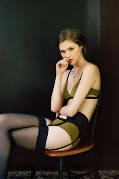 Sage and black underpinnings