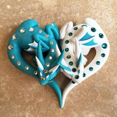 Heart dragons! #dragonsandbeasties #dragons #claydragons #heart #dragoncouple