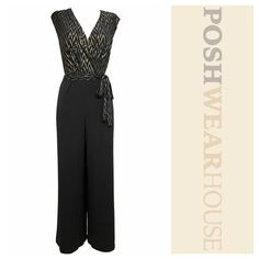 """Black & Gold Semi Formal One Piece Jumpsuit Pull-On application • Surplice neckline • Pockets • Length 57"""" • Bust 38"""" - 44""""  • Waist 34"""" - 40"""" • Hips up to 56"""" • Inseam 28"""" • Polyester & Spandex.  Like what you see? Follow me! On PM @PoshWearHouse On IG www.instagram.com/PoshWearHouse On FB www.facebook.com/PoshWearhouse Glamour Pants Jumpsuits & Rompers"""